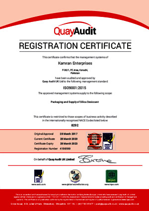 Kamran Enterprises ISO 9001 certified manufacturer and suppliers desiccant bags and sachets of Silica Gel